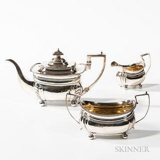 Three-piece George III Sterling Silver Tea Service