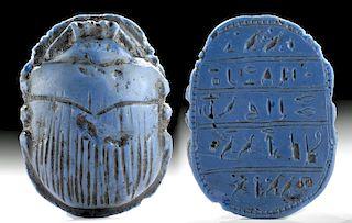 Translated Egyptian Blue Paste Glass Heart Scarab