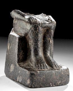 Egyptian New Kingdom Granite Male Statue Fragment