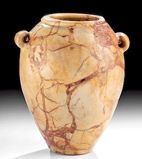 Egyptian Pre-Dynastic Marble Ovoid Jar, ex-Royal-Athena