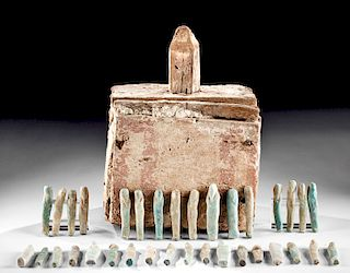 Rare Egyptian Wood Ushabti Box w/ 98 Faience Ushabti