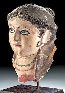 Romano-Egyptian Plaster Mummy Mask of Woman