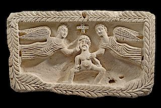 Egyptian Coptic Stone Relief The Ascension, ex-Emmerich