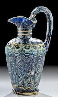 Greek Core Form Glass Trefoil Spouted Oinochoe
