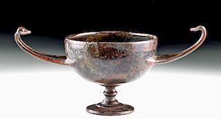 Rare Greek Hellenistic Bronze Stemmed Kantharos