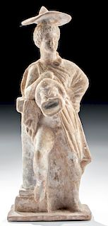 Roman Terracotta Standing Figure with Actor's Mask