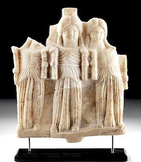 Roman Alabaster Relief w/ Three Figures