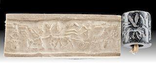 Sumerian Stone Stamp Seal Bead w/ Chariot & Lamassu