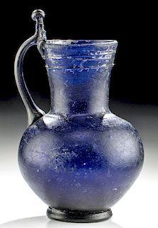 9th C. Islamic Glass Pitcher - Deep Cobalt Blue