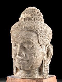 12th C. Cambodian Khmer Sandstone Head of Buddha