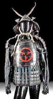 Japanese Edo Lacquered Iron Samurai Armor w/ Helmet