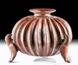 Colima Redware Gadrooned Parrot Vessel, ex Sotheby's