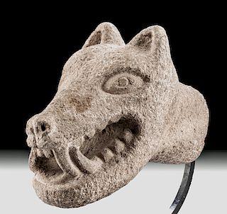 Amazing Aztec Stone Carved Coyote - Lifesize!