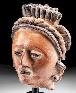 Exceptional Lifesize Veracruz Polychrome Portrait Head