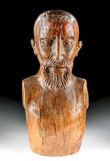 17th C. Spanish Empire Wood Bust of Bearded Man