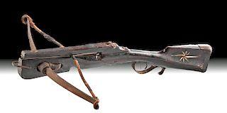 18th C. German Crossbow - Ebony & Ivory Inlay