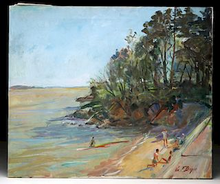 Signed William Draper Painting - Beach Scene, 1985