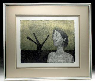 "Rufino Tamayo Lithograph - ""Mujer Sonriente"" (1989)"