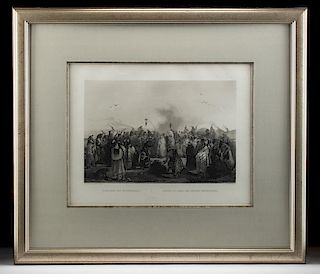 Framed Bodmer Aquatint Engraving - Danse du Scalp, 1840