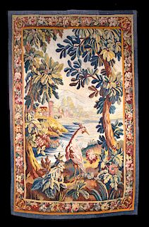 18th C. French Aubusson Verdure Tapestry Bird in Woods