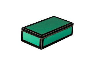 Art Deco Silver Green & Black Enamel Rectangular Box