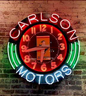 Large Vintage Neon Ferrari Sign Carlton Motors 1980's