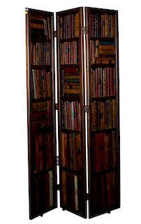 English 3-Panel Leather Bound Book Case Screen Circa 1950