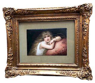K.P.M Porcelain Plaque Depicting a Young Beauty Circa 1890