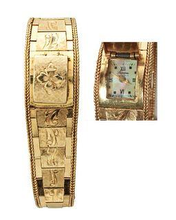 14K Yellow Gold Engraved Lucerne Watch Bracelet