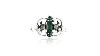 Georg Jensen Brooch 236B Green Agates