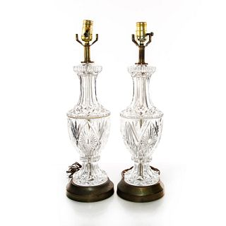 PAIR, CUT CRYSTAL TABLE LAMPS