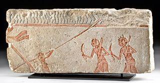Egyptian Limestone Relief Panel Fragment - Men on Boat