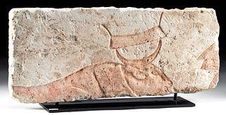 Egyptian Limestone Relief Panel of Ox w/ Horn Bindings