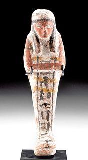 Translated Egyptian Polychrome Ushabti for Wah-Smen