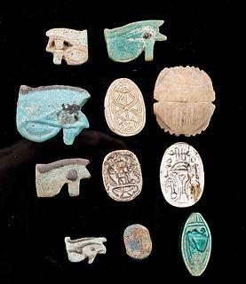 Egyptian Faience Wedjat Eye Amulets + Scarabs (11 pcs)