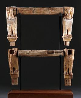 Egypt Late Dynasty Wooden Chair Legs w/ Lions