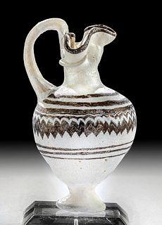 Fine Greek Core-Formed Glass Oinochoe - White & Purple