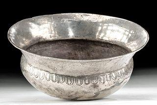 Greek Hellenistic Silver Libation Bowl w/ Omphalos