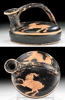 Greek Attic Red-Figure Askos w/ Dog & Goat
