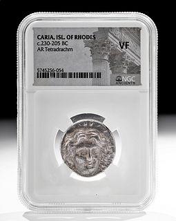 Caria Rhodos Silver Tetradrachm Coin