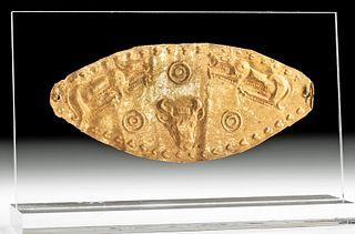 Greek Hellenistic 23K+ Gold Diadem Plaque, Bull & Lions