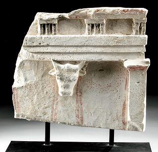 Fabulous Greek Limestone Relief - Entablature & Bull