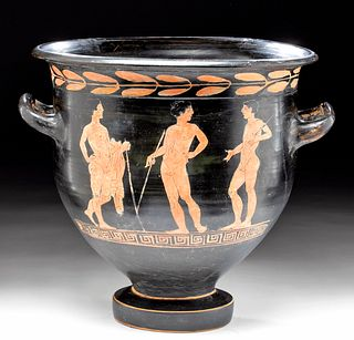 Rare Etruscan Applied Red-Figure Bell Krater