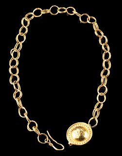 Roman 23K+ Gold Chain Necklace w/ Domed Pendant