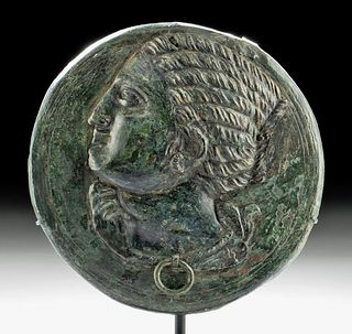 Roman Bronze Mirror Case w/ Woman in Profile