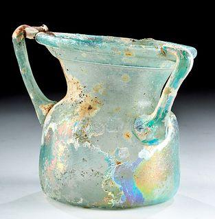 Roman Glass Ribbed Jar w/ Three Handles