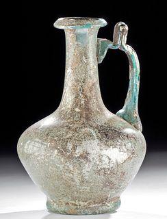 Superb Eastern Roman Glass Jug - Great Iridescence