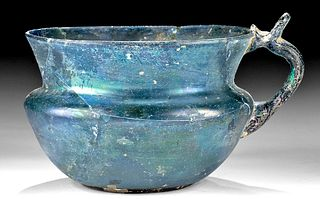 Roman Glass Handled Cup - Gorgeous Teal Blue