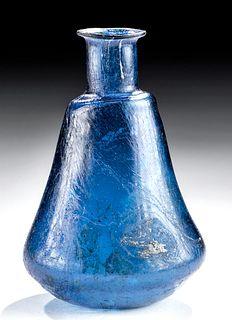Fine Roman Glass Flask - Cobalt Blue Hue