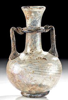 Roman Glass Footed Vase w/ Cobalt Blue Trail Handles